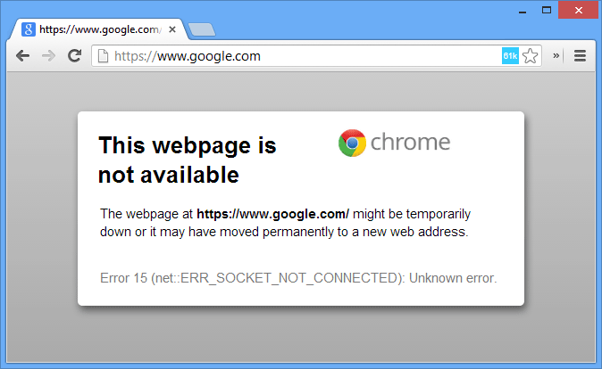 Google Chrome Is Not Working