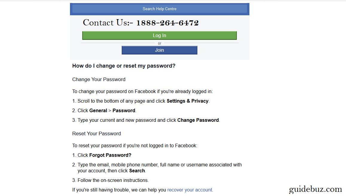 Online Facebook Password Recovery Tool
